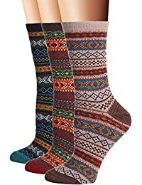 Women's 3 Pair Pack Vintage Style Cotton Crew Socks