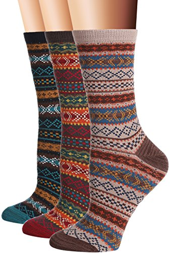 Flora &Fred Womens 3 Pair Pack Vintage Style Nordic Cotton Crew Socks Nordic shoe 5-9,Shoe: 5-9,Nordic Sox Pack