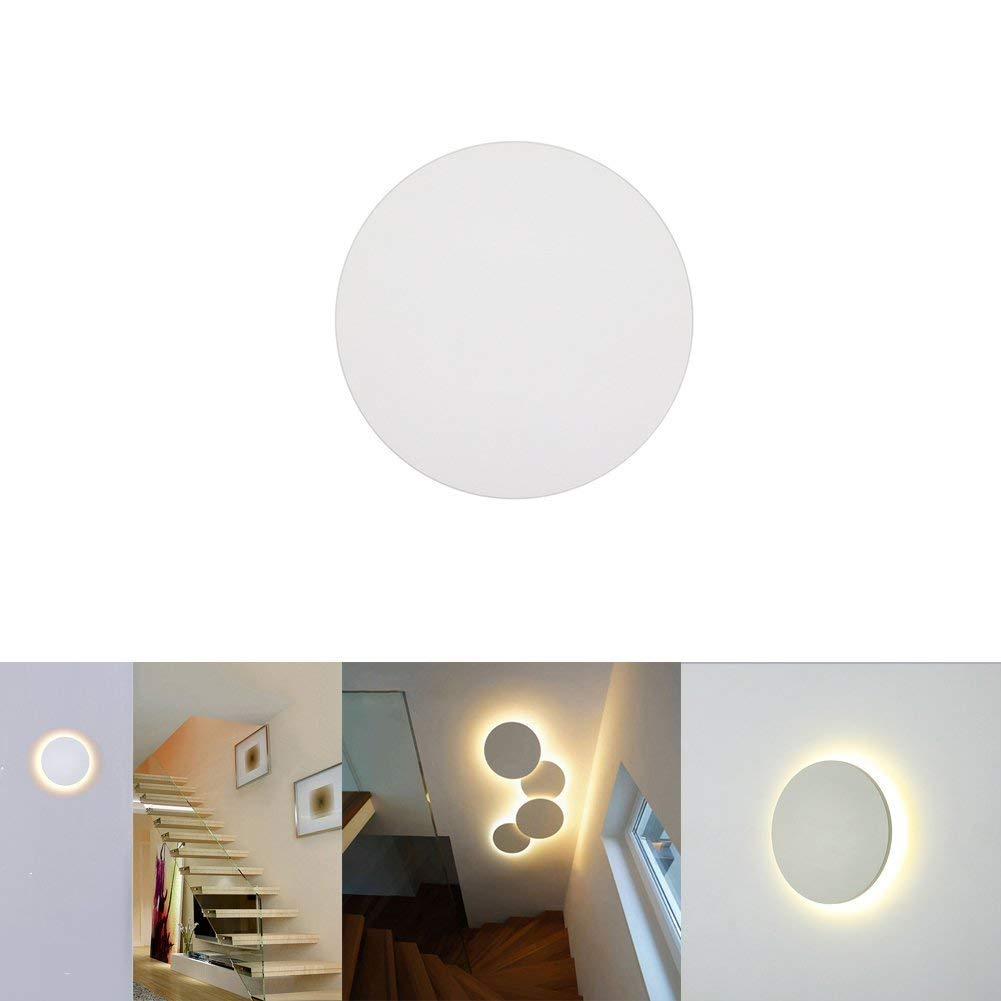 Lianqi 6W 3000K LED Wall lamp IP54 Waterproof Circle Round Creative Wall Lights for Living Reading Room Hotel Gallery Corridor Bedroom Outdoors Outside Garden Hotel Gallery Decoration (Warm White)
