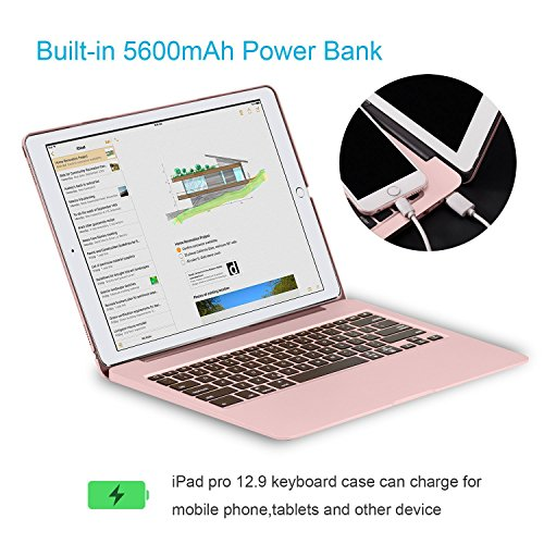 Keyboard Case for iPad Pro 12.9,7 Colors Backlight Slim Aluminum Wireless Keyboard with Protective Translucent Silicone Keyboard Cover and 5600 mAh Power Bank for iPad Pro 12.9 inch(12.9 Rose Gold) by KINGZE (Image #3)