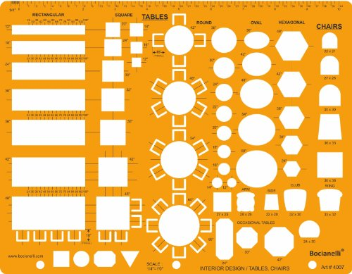 1/4 inch (1/4″ = 1'0″) Scale US American Standard Imperial Architectural Drawing Template Stencil – Architect Technical Drafting Supplies – Furniture Symbols for House Interior Floor Plan Design