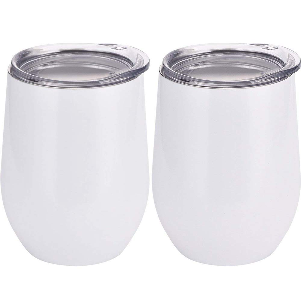 AccMart Double-insulated Wine Tumbler, Stainless Steel Wine Glass - 12oz Stainless Steel Tumbler Cup with Lids for Wine, Coffee, Drinks, Champagne, Cocktails - Set of 2 (White)