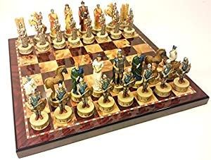 "Large 4 1/2"" King - Greek Mythology Battle of Troy Trojan War Spartan Chess SET Set W/ 18"" Cherry & Burlwood Color Board"
