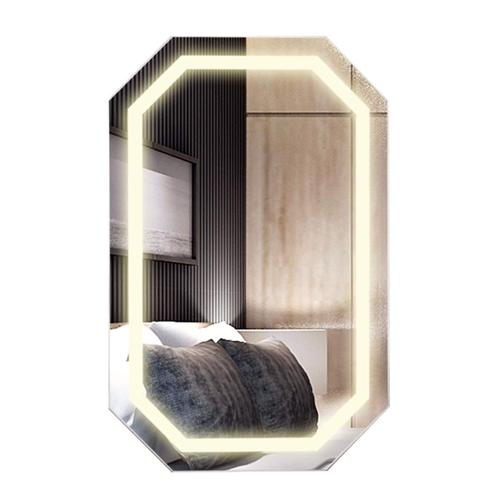 Cosmetic Holder, Wall-Mounted Vanity Mirror, Bedroom Bathroom Multi-Function Storage Mirror Cabinet, Wooden Household Intelligent Led Lamp Jewelry Cabinet Jewelry Box Cosmetic Storage Rack Nanayaya