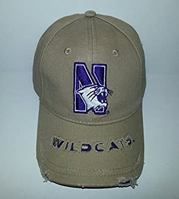 Northwestern Wildcats University Adjustable Buckle Hat Embroidered Distressed Cap from Signatures.