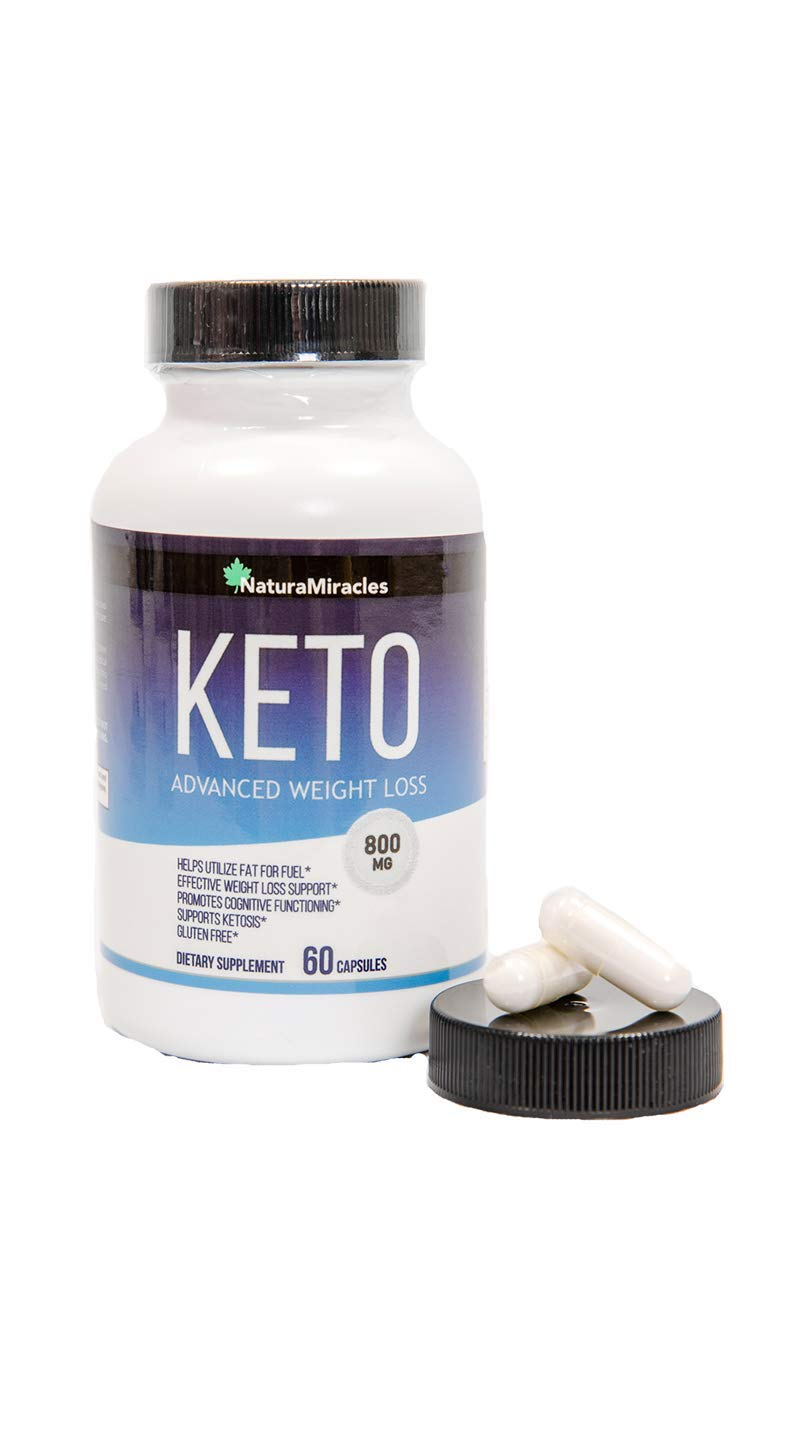 Keto Diet Advanced Fat Burner by Natura Miracles -800MG - Burn Fat Instead of Carbs - Advanced Weight Loss Ketosis Supplement - 60 Capsules - 30 Days Supply (1 Bottle)