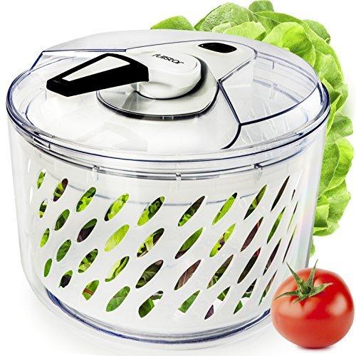 Spinner Salad White (Large Salad Spinner Lettuce Dryer - Easy Spin Salad Spinner Large Vegetable Washer - Manual Salad spinner - Vegetable Dryer - Veggie Spinner Dry Salad Spinner By Fullstar)