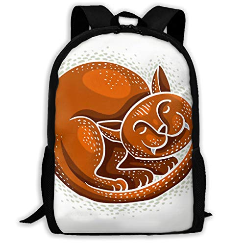 SARA NELL School Backpack Cute Cartoon Doodle Red Cat Sleeping Bookbag Casual Travel Bag For Teen Boys Girls]()