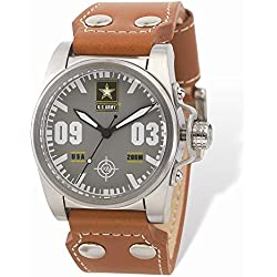 Wrist Armor Men's WA215 C1 Stainless Steel Analog Display Swiss Quartz Watch with Brown Leather Strap