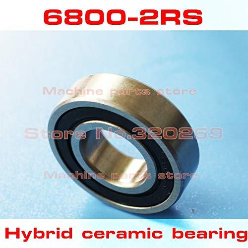 (Fevas Radial 6800 61800 6800RS S61800 2RS 10195 10x19x5mm Stainless Steel Hybrid Ceramic Ball Bearing Si3N4 Bike hub)