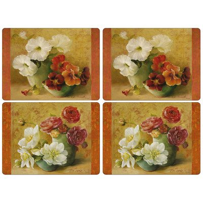 Pimpernel Floral Offering Placemats - Set of 4 (Hardboard Placemats Set)