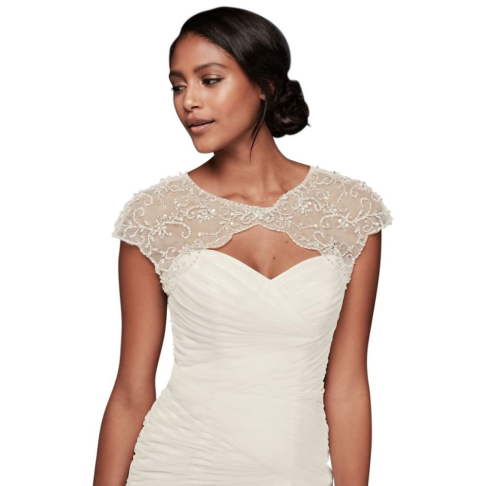 David's Bridal Floral-Beaded Scalloped Dress Topper Style OW1014, Ivory, 1X