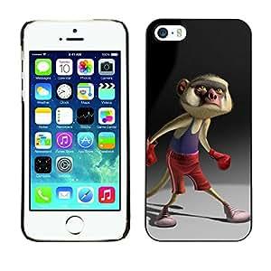 For Apple iPhone 5 / iPhone 5S Case , Cartoon Boxing Tail Character - Diseño Patrón Teléfono Caso Cubierta Case Bumper Duro Protección Case Cover Funda