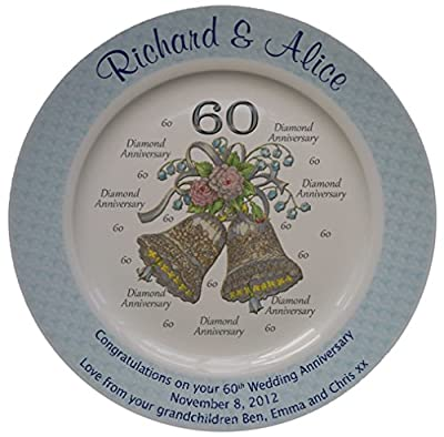 Personalized Bone China Commemorative Plate For A 60th Wedding Anniversary - Wedding Bells Design