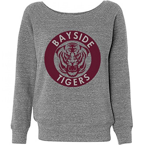 Bayside Off The Shoulder: Ladies Triblend Wideneck Sweatshirt