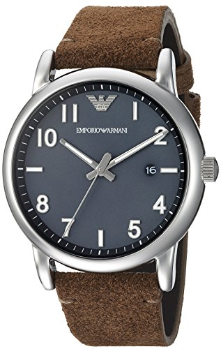 Emporio Armani Mens Fashion Watch Quartz Stainless Steel and Leather Casual, Color:Brown (Model: AR11070)