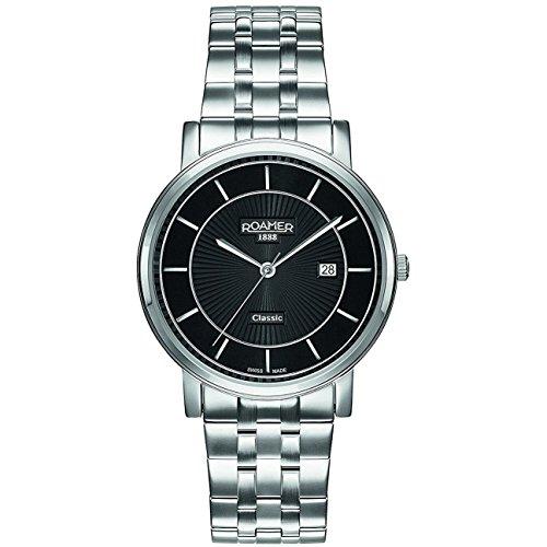 Roamer of Switzerland Men's 40mm Steel Bracelet & Case S. Sapphire Quartz Black Dial Watch 709856 41 57 70