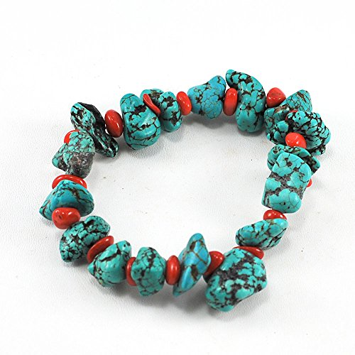 Bamboo Turquoise Necklace - Blue Turquoise & Bamboo Coral Bracelet with Stretch Wire 8