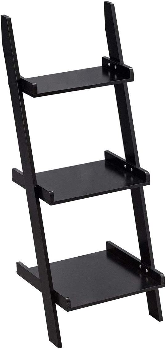 Giantex Ladder Shelf 3-Tier Wall-Leaning Bookshelf Ladder Bookcase Storage Display Shelf