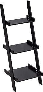 Giantex Ladder Shelf 3-Tier Wall-Leaning Bookshelf Ladder Bookcase Storage Display Shelf for Home and Office, Multipurpose Plant Flower Stand Shelf, Black