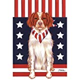 Brittany Spaniel Patriotic Breed Garden Flag For Sale