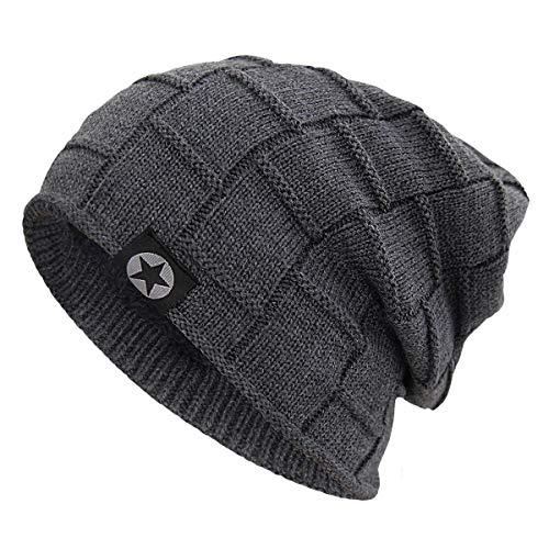 Ski Knit Hat Beanie (Bodvera Winter Knit Warm Hat Thick Soft Fleeced Slouchy Beanie Ski Skully Cap for Men & Women Grey)