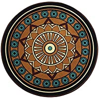 Wolala Home Bohemian Geometric Pattern 5-Feet by 5-Feet(5 x 5) Round Area Rug,Brown Rug for Living Room,Non-slip Washable Floor Carpet