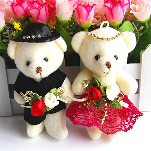 """4.7"""" Lovely Plush Toys Doll Conjoined Bear,Bride and Groom Wedding Teddy Bear Decoration for Wedding Car,Valentine's Day Gift Couple's One Pair of Wedding Gifts Present(2Pcs,Random Sent)"""