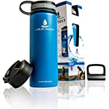Liquid Savvy 24oz Insulated Water Bottle with 3 lids - Stainless Steel, Wide Mouth Double Walled Vacuum Insulated Bottle for Hot and Cold Beverages (Blue)