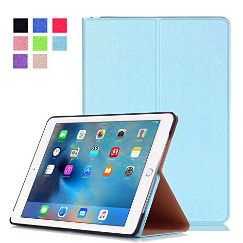 カバーfor Apple iPad Air 2 9.7インチスマートスリムケースブックカバースタンドフリップiPad 6 (ライトブルー)新しい B06XTCPSZQ