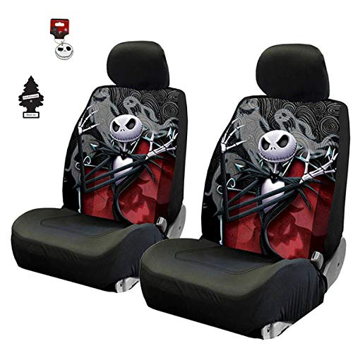 Yupbizauto New 4 Pieces Nightmare Before Christmas Jack Skellington Ghostly Car Truck SUV Low Back Seat Covers Set with Air Freshener (Nightmare Before Christmas Seat Covers)