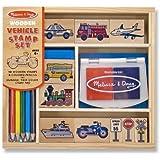 Vehicles: Wooden Stamp Set + FREE Melissa & Doug Scratch Art Mini-Pad Bundle [24099]