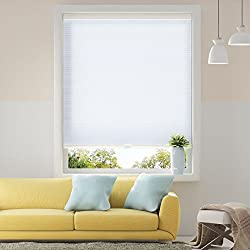 Honeycomb Cellular Shades Cordless Light Flitering for Windows Inside & Outside Mount, 27 x 64 inch, White