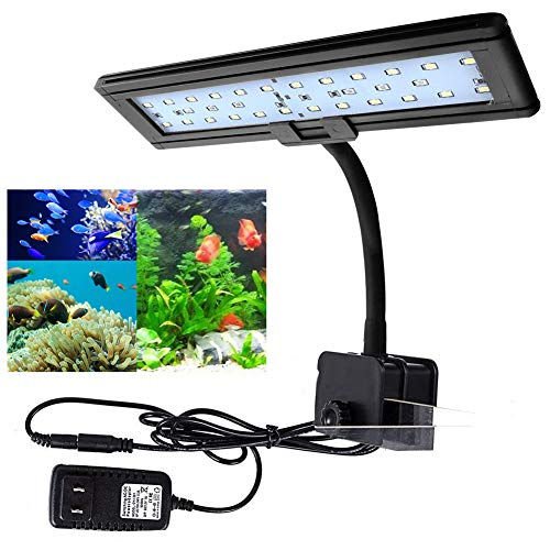 LED Aquarium Light - Nano Fish Tank Light for Coral Reef - Fish Clip Light Saltwater Aquarium Light, Blue and White LEDs for Day and Night Lighting, Save Energy for Tank Length 10-18inch (30 LED) ()