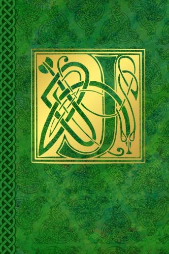 Celtic Letter J Vintage Irish Monogram Journal: Green Gold Celtic Knot Name Initial Diary Blank Lined Book