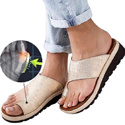 Womens Platform Sandals Summer Flip Flops Slide Sandals Casual Toe Ring Sandal Flats GOLDEN43 (9.5)