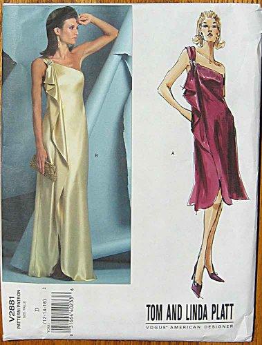 Vogue 2881 Sewing Pattern, Tom & Linda Platt Designer Misses Dress, One Shoulder Evening Gown, Sizes 12-14-16 (Greek Dress Pattern)