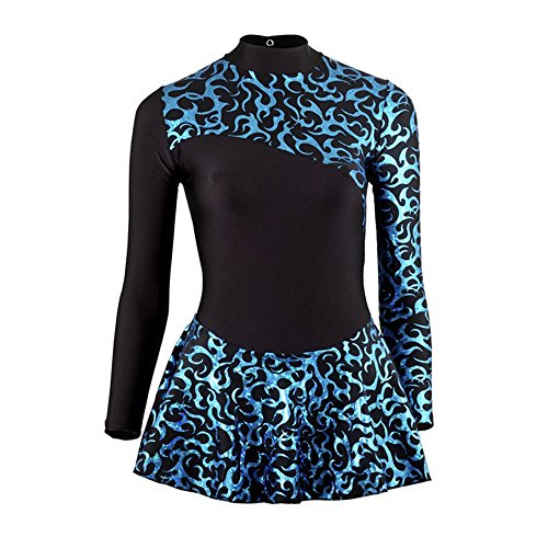 Amazon.com: Starlite Foil Print Ice Skating Dress - Black/Blue 6-7 years: Clothing