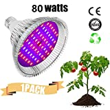 Derlight 80W LED Grow Light Bulb, Grow Lights for Indoor Plants, E26 Plant Grow Bulb for Indoor Garden Greenhouse and Hydroponic Plants Lighting