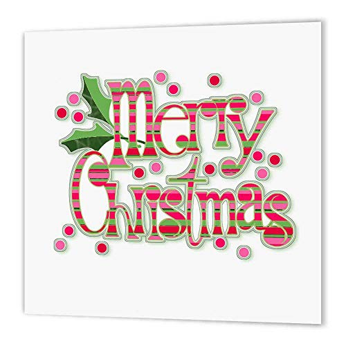 - 3dRose ht_60791_3 Green and Pink Striped Merry Christmas-Iron on Heat Transfer for Material, 10 by 10-Inch, White