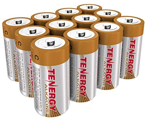 Tenergy 1.5V C Alkaline LR14 Battery, High Performance C Non-Rechargeable Batteries for Clocks, Remotes, Toys & Electronic Devices, Replacement C Cell Batteries, 12-Pcs