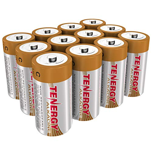 Tenergy 1.5V C Alkaline LR14 Battery, High Performance C Non-Rechargeable Batteries for Clocks, Remotes, Toys & Electronic Devices, Replacement C Cell Batteries, 12-Pack