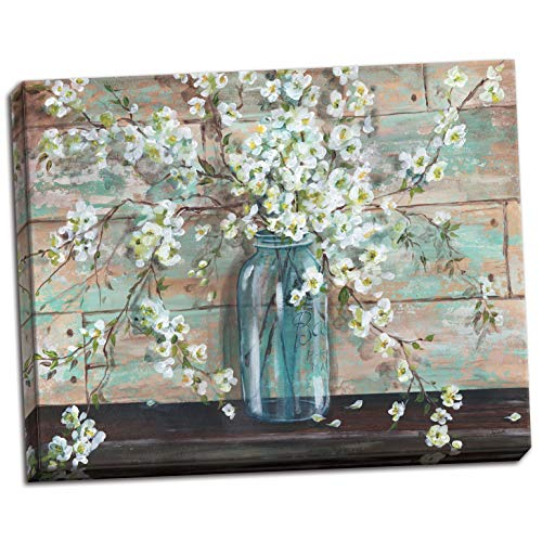 Gango Home Decor Beautiful Watercolor-Style Blossoms In A Mason Jar Floral Print by Tre Sorelle Studios; One 20x16in Stretched -
