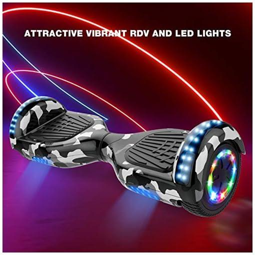 GeekMe Hoverboard Gyropode 6.5 Pouces Électrique Scooter Auto équilibré Bluetooth Intégré Lampes LED Coloré Clignotantes aux Roues