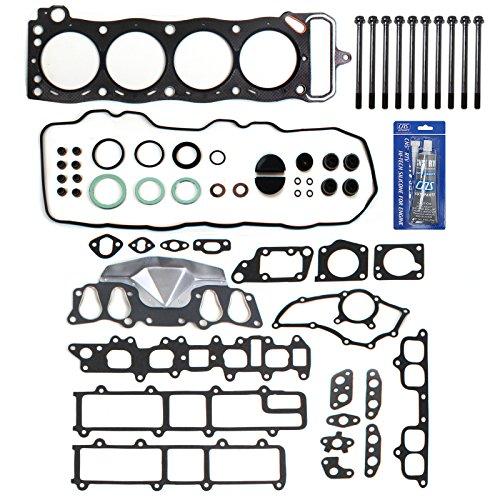 NEW EH027T1HBSI Graphite Cylinder Head Gasket Set, Head Bolt Kit, & RTV Gasket Maker for Toyota 2.4L Pickup 4Runner Celica 22RE 22REC SOHC (8-Valve) Engine 1985-95 (Cylinder Head Parts Kit)