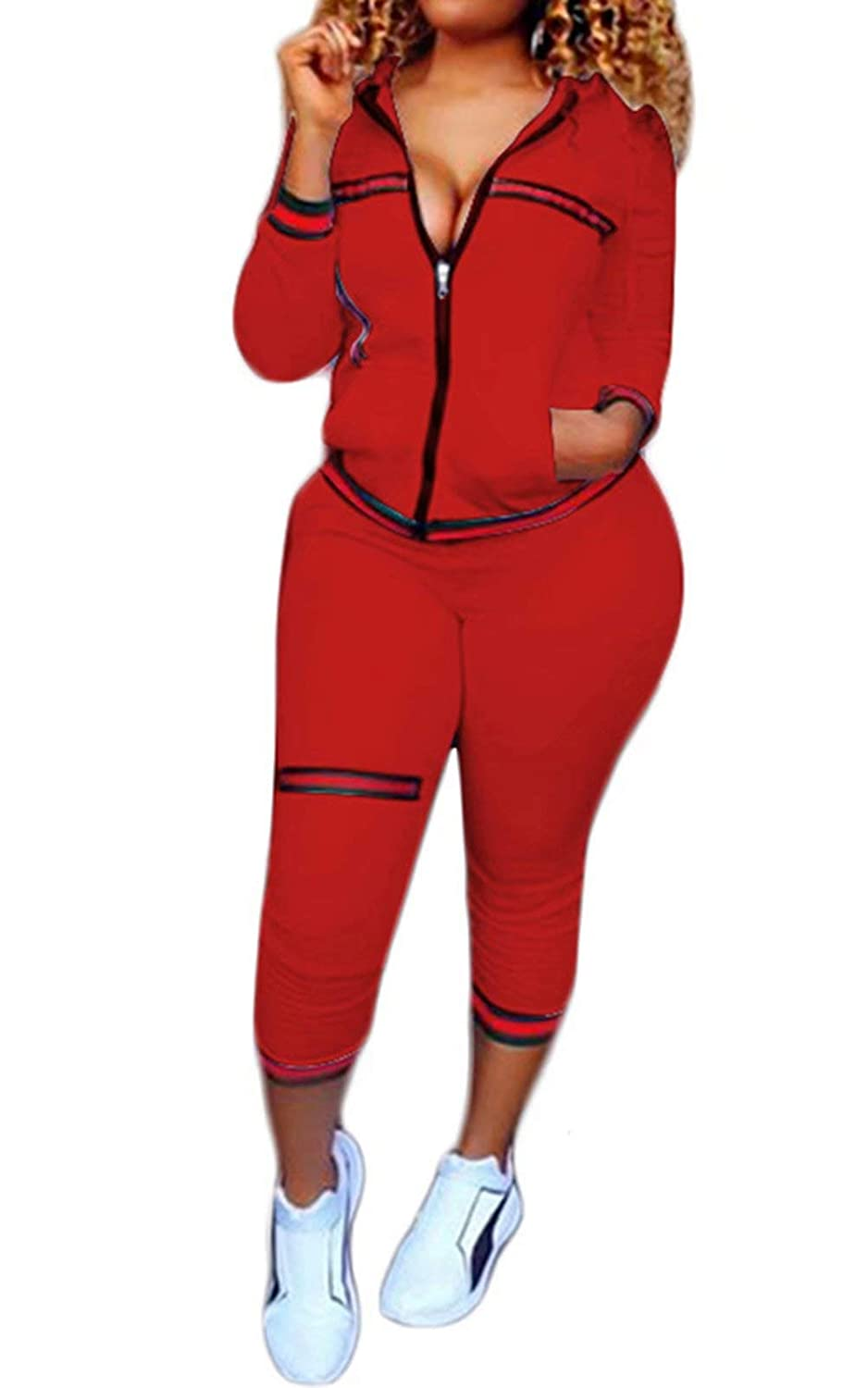 FOUNDO Womens 2 Piece Outfits Tracksuits Hooded Jacket Bodycon Pants Joggers Set