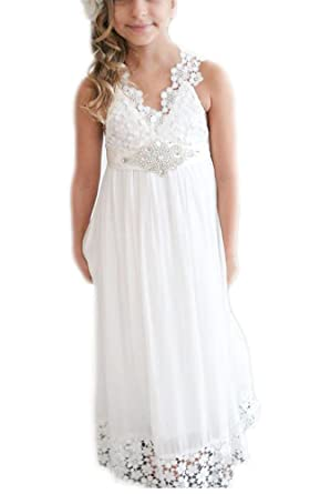 Amazon.com  Simlehouse Ivory Vintage Lace Boho Flower Girl Dresses Kids  Communion Easter Gowns  Clothing 3061f963a