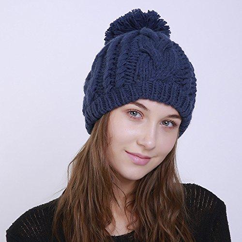 blu maglia Cappello lavorato colore donna stile puro per Acvip 2 a Cappello pompom taPtw
