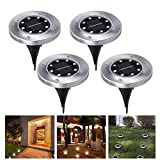 #7: Recod Solar Ground Lights,LED Solar Garden Outdoor In-Ground Light,Waterproof Sensing Landscape Lights for Lawn Pathway Yard Driveway Patio Walkway Pool Area,White,Work Time 8-10 hour,4Pack