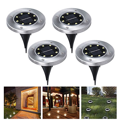 Solar Ground Lights,8 LED Solar Garden Outdoor In-Ground Light,Waterproof Sensing Landscape Lights for Lawn Pathway Yard Driveway Patio Walkway Pool Area, White,Work Time 8-10 hour (4 Pack)